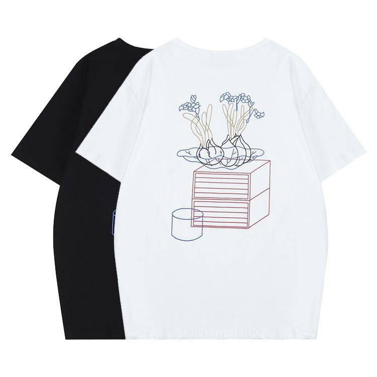 BLACK AND WHITE CARTOON ABSTRACT PRINT OVERSIZED T-SHIRT