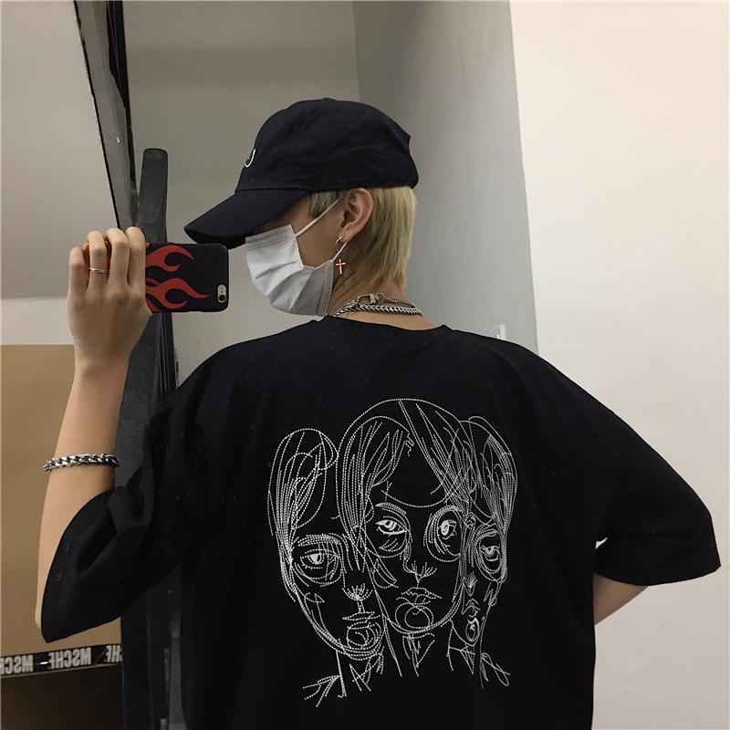 BLACK AND WHITE CARTOON HEAD PRINT OVERSIZED T-SHIRT