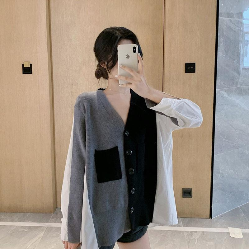 itGirl Shop BLACK AND WHITE STITCHING BACK CHIFFON V-NECK CARDIGAN