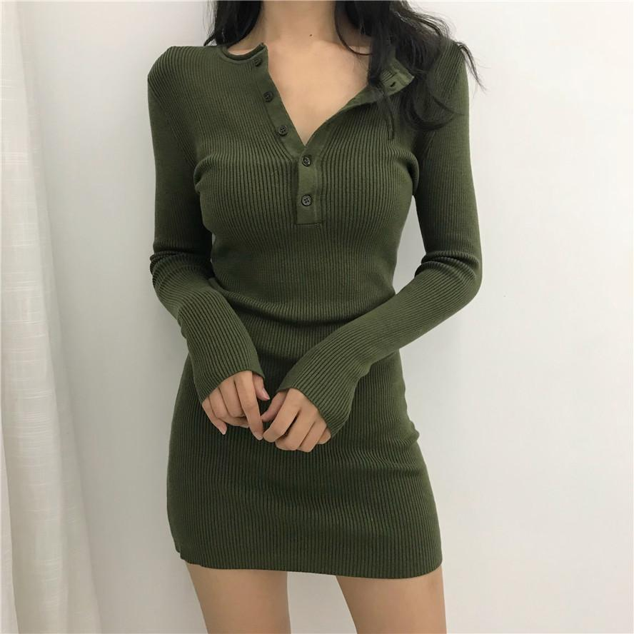 itGirl Shop BLACK ARMY GREEN COLLAR BUTTONS COTTON KNIT ABOVE KNEE DRESS