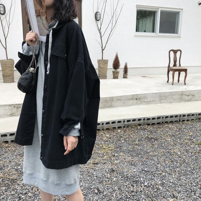BLACK BEIGE LONG SHIRT STYLE DENIM JACKET