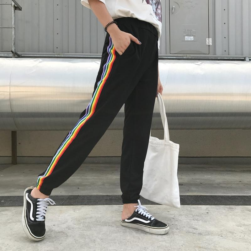 itGirl Shop BLACK BRIGHT RAINBOW LAMPASSES COMFY SWEATPANTS