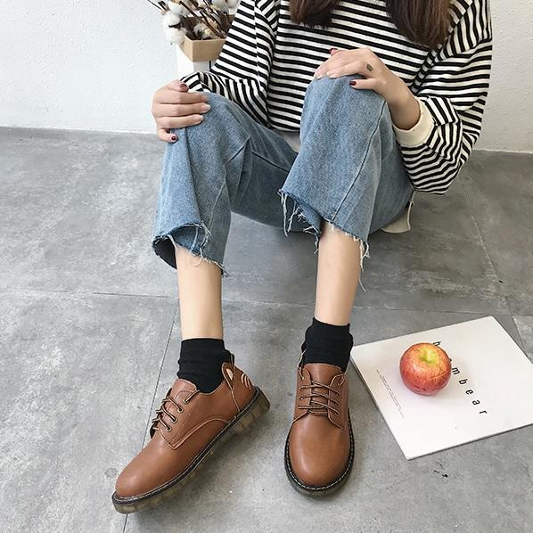 itGirl Shop BLACK BROWN CAT FACE CUTE RETRO BOOTS