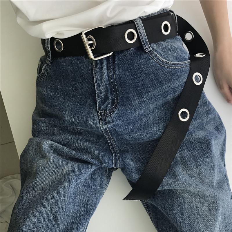 itGirl Shop BLACK CANVAS TEENAGERS GRUNGE METALLIC HOLES BELT