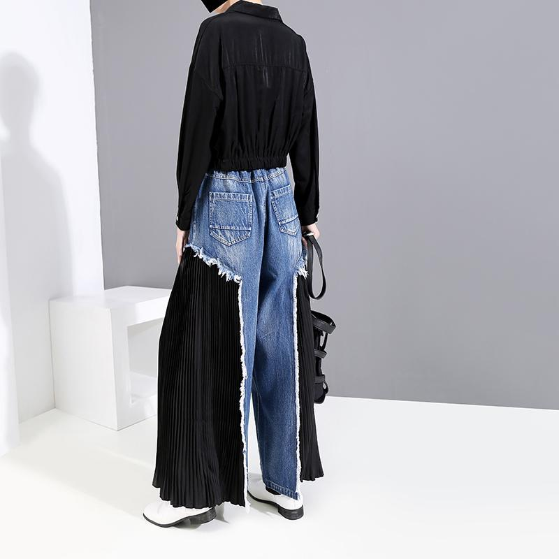 itGirl Shop BLACK CHIFFON PLEATED STITCHING DENIM WIDE LEG JEANS