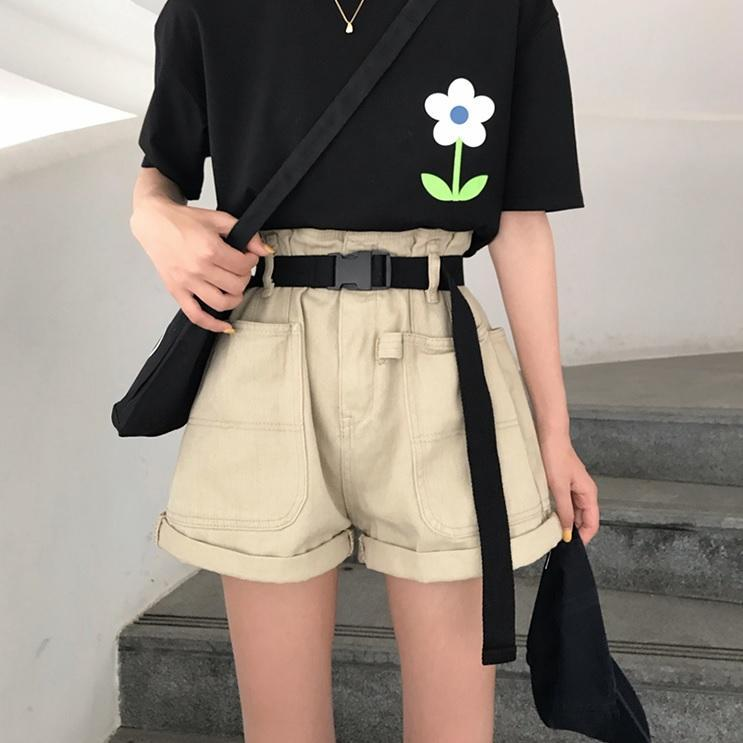 itGirl Shop BLACK CREAMY WHITE GRUNGE AESTHETIC LOOSE SHORTS