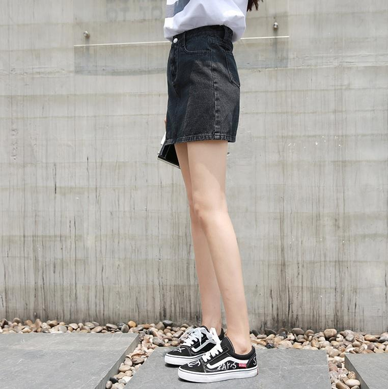 itGirl Shop BLACK DENIM CASUAL HIGH WAIST MINI SKIRT