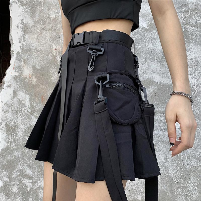 ItGirl Shop BLACK E GIRL HIGH WAIST PLEATED SKIRT WITH BELT