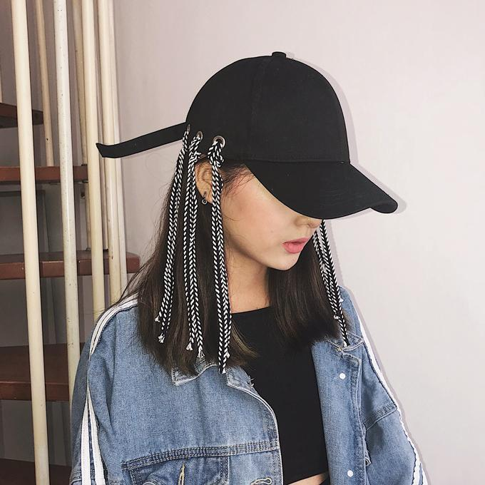 itGirl Shop BLACK EYELETS BASEBALL CAP WITH LONG ROPERS