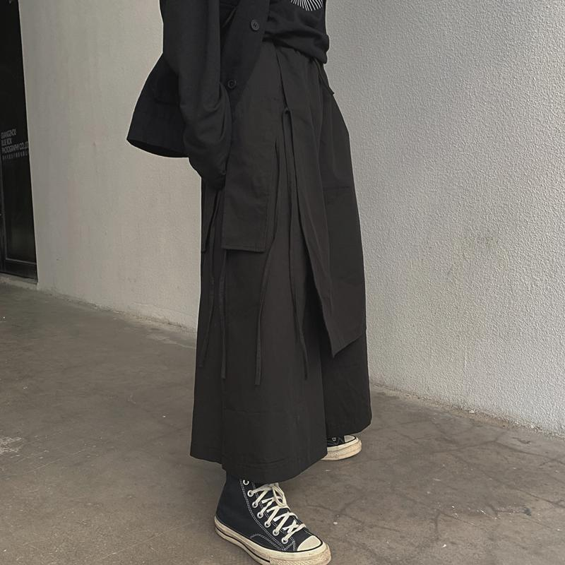 itGirl Shop BLACK FAKE TWO PIECE GOTH AESTHETIC WIDE LEG PANTS