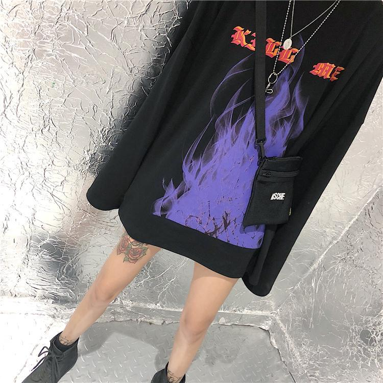 itGirl Shop BLACK FLAMES LETTERS PRINT OVERSIZED LONG SLEEVE SHIRT