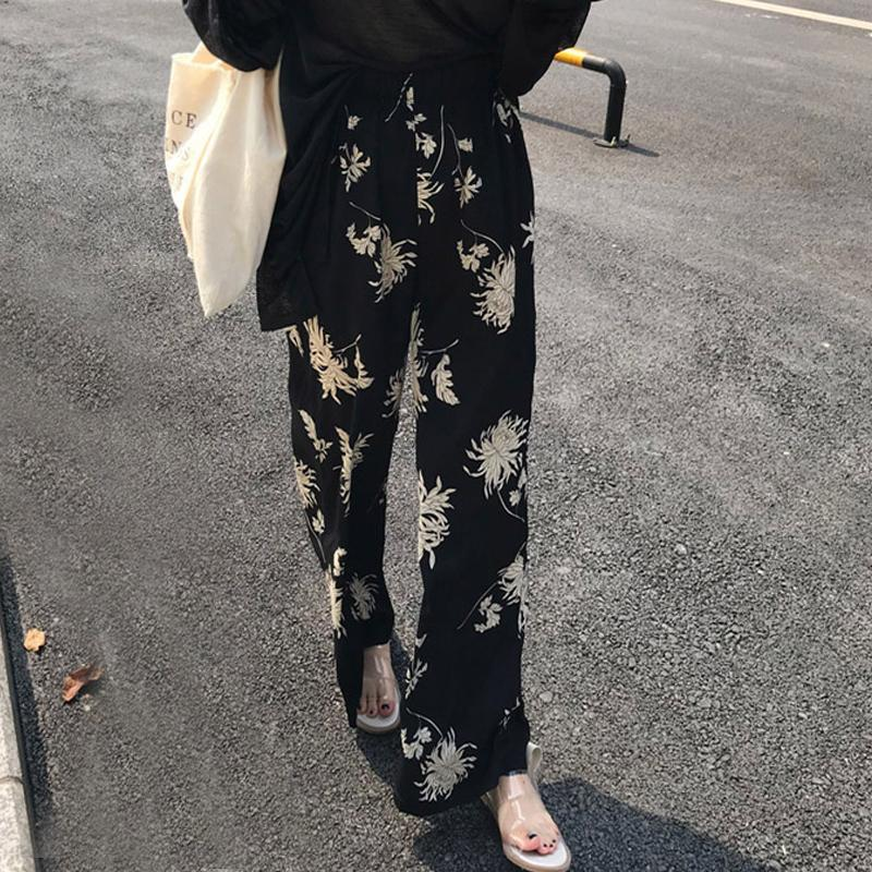 BLACK FLOWER PRINT AESTHETIC HIGH WAIST LOOSE PANTS