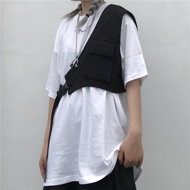 itGirl Shop BLACK GRUNGE AESTHETIC ONE SHOULDER VEST