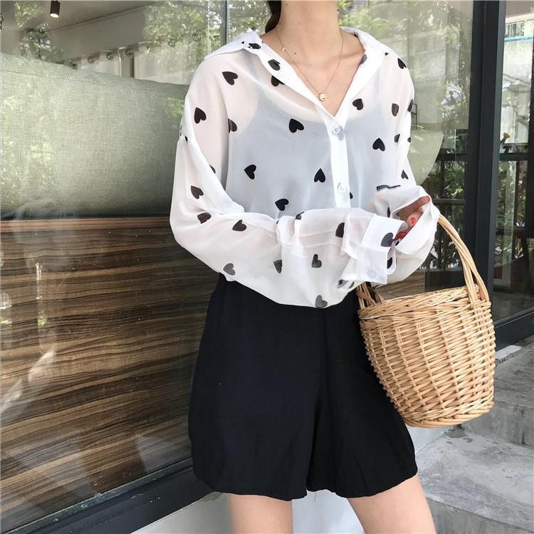 itGirl Shop BLACK HEARTS WHITE CHIFFON COLLAR LONG SLEEVE BLOUSE