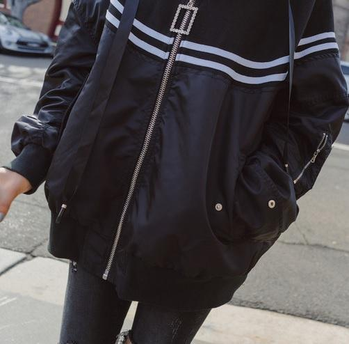 itGirl Shop BLACK HOODED WINDBREAKER SPORTY LINES LOOSE JACKET