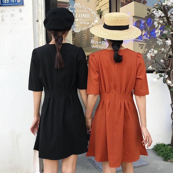 itGirl Shop BLACK KHAKI CLOSED ABOVE KNEE SHORT SLEEVE SUMMER DRESS Aesthetic Apparel, Tumblr Clothes, Soft Grunge, Pastel goth, Harajuku fashion. Korean and Japan Style looks