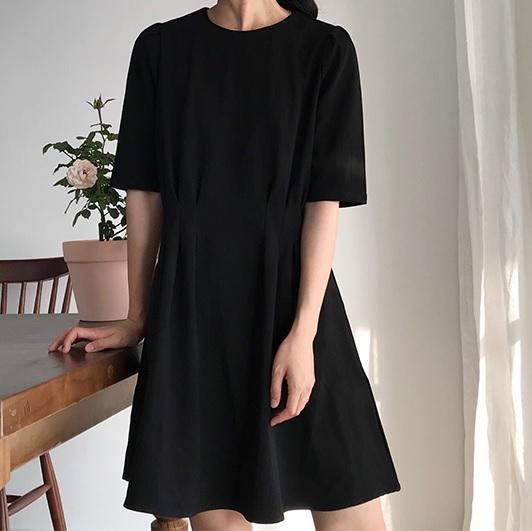 itGirl Shop BLACK KHAKI CLOSED ABOVE KNEE SHORT SLEEVE SUMMER DRESS