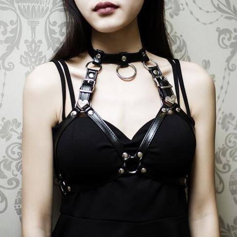 itGirl Shop BLACK LEATHER AESTHETIC CHOKER BREAST GARTER BANDAGE