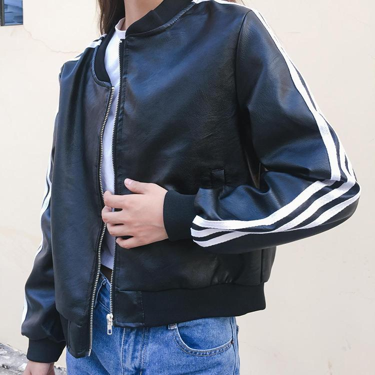 BLACK LEATHER SLEEVES STRIPES BOMBER JACKET