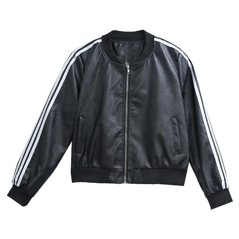 itGirl Shop BLACK LEATHER SLEEVES STRIPES BOMBER JACKET