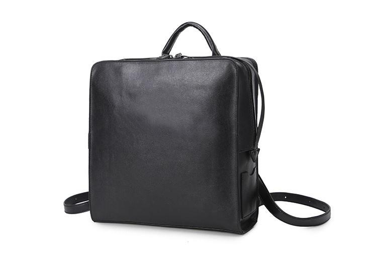 itGirl Shop BLACK LEATHER SQUARE MINIMALISTIC ZIPPER BACKPACK