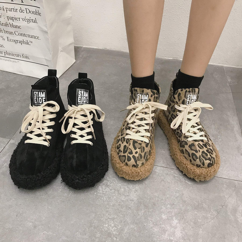 itGirl Shop BLACK LEOPARD FLUFFY PLATFORM SNEAKERS