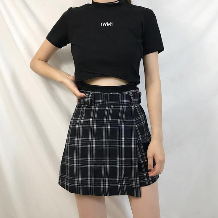 itGirl Shop BLACK LETTER PRINT CROP TOP + PLAID HIDDEN SHORTS SKIRT 2 PIECE SET