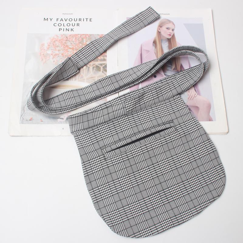 BLACK PLAID GRAY APRON STYLE POCKET WAIST BELT