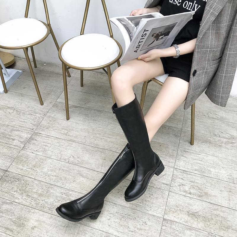 itGirl Shop BLACK PLATFORM HEEL ZIPPER HIGH BOOTS