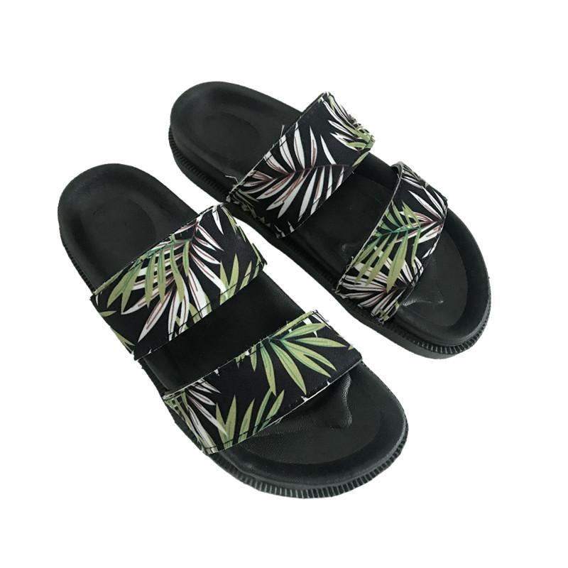 itGirl Shop BLACK PU PALM LEAVES PRINT SUMMER FLAT RUBBER SANDALS