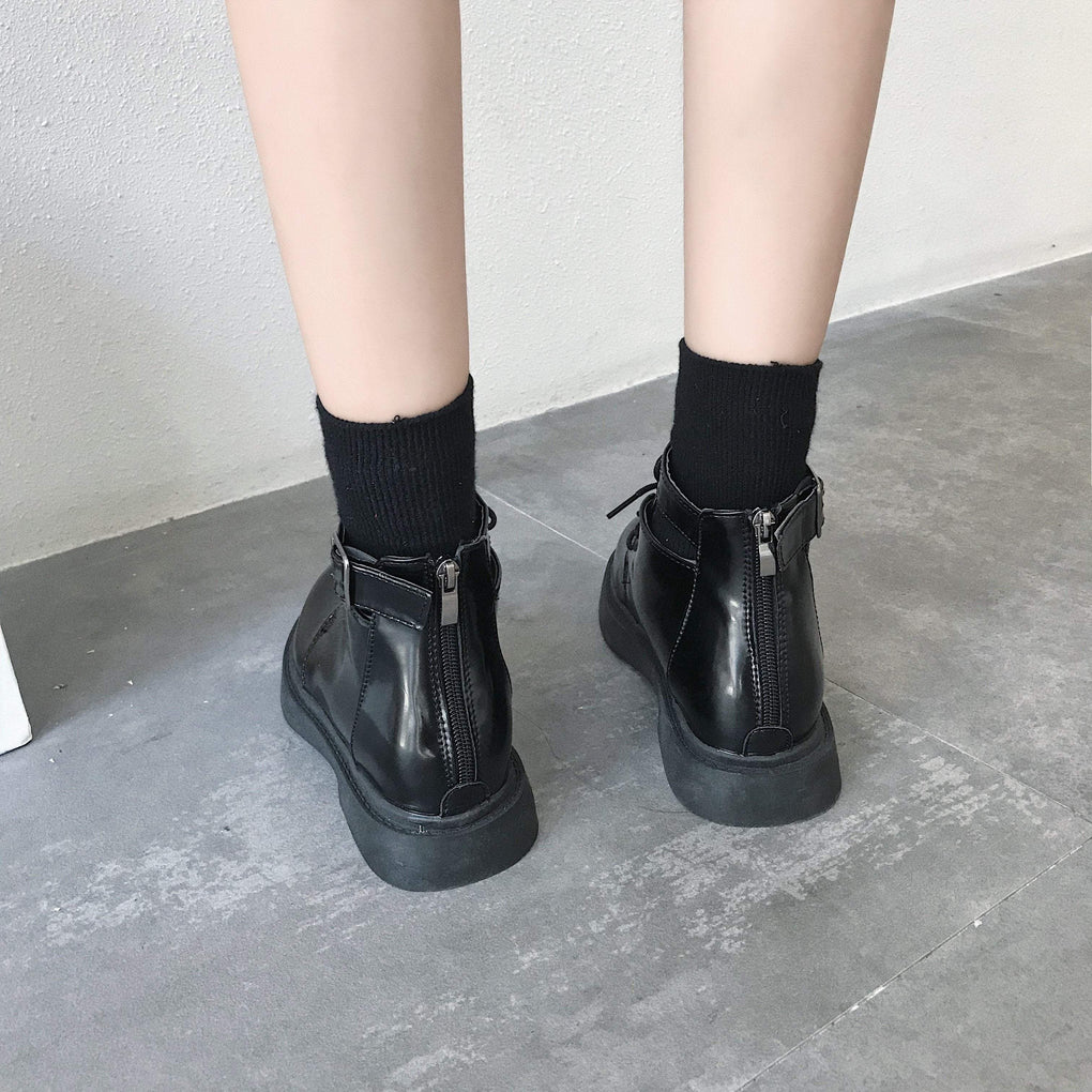 itGirl Shop BLACK PU ZIPPER BOOTS WITH CUTOUTS