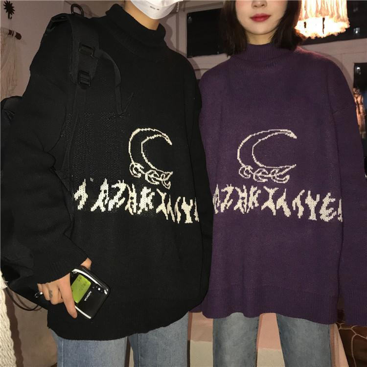 BLACK PURPLE SYMBOLS MOON PATTERN WARM KNIT SWEATER