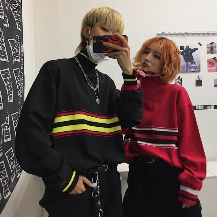 BLACK RED CONTRAST LINES HIGH COLLAR LOOSE SWEATSHIRT