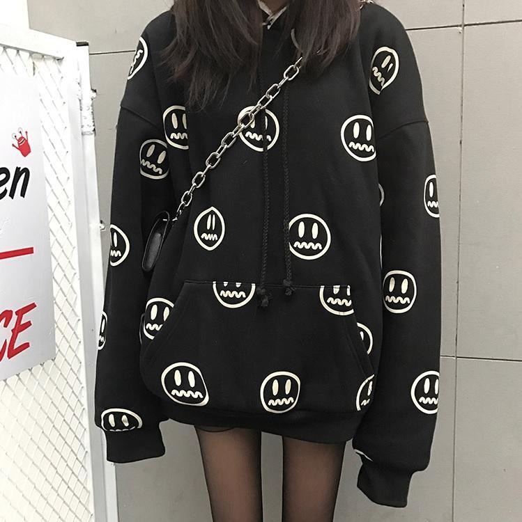 itGirl Shop BLACK RED EMOJI PATTERN WARM VELVET HOODIE