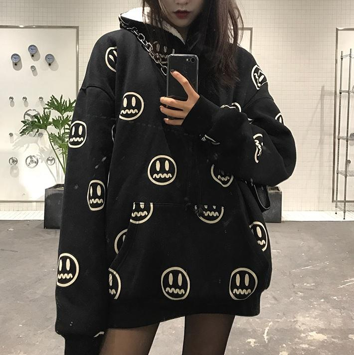 BLACK RED EMOJI PATTERN WARM VELVET HOODIE