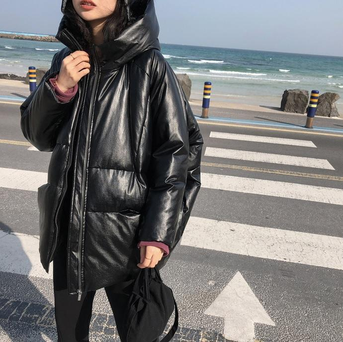 itGirl Shop BLACK SILVER PUFFED OVERSIZED WINTER HOODED COAT
