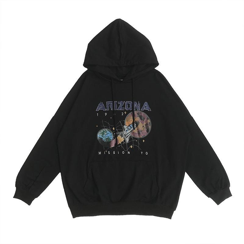 itGirl Shop BLACK SPACE ROCKET ARIZONA HOODED SWEATSHIRT