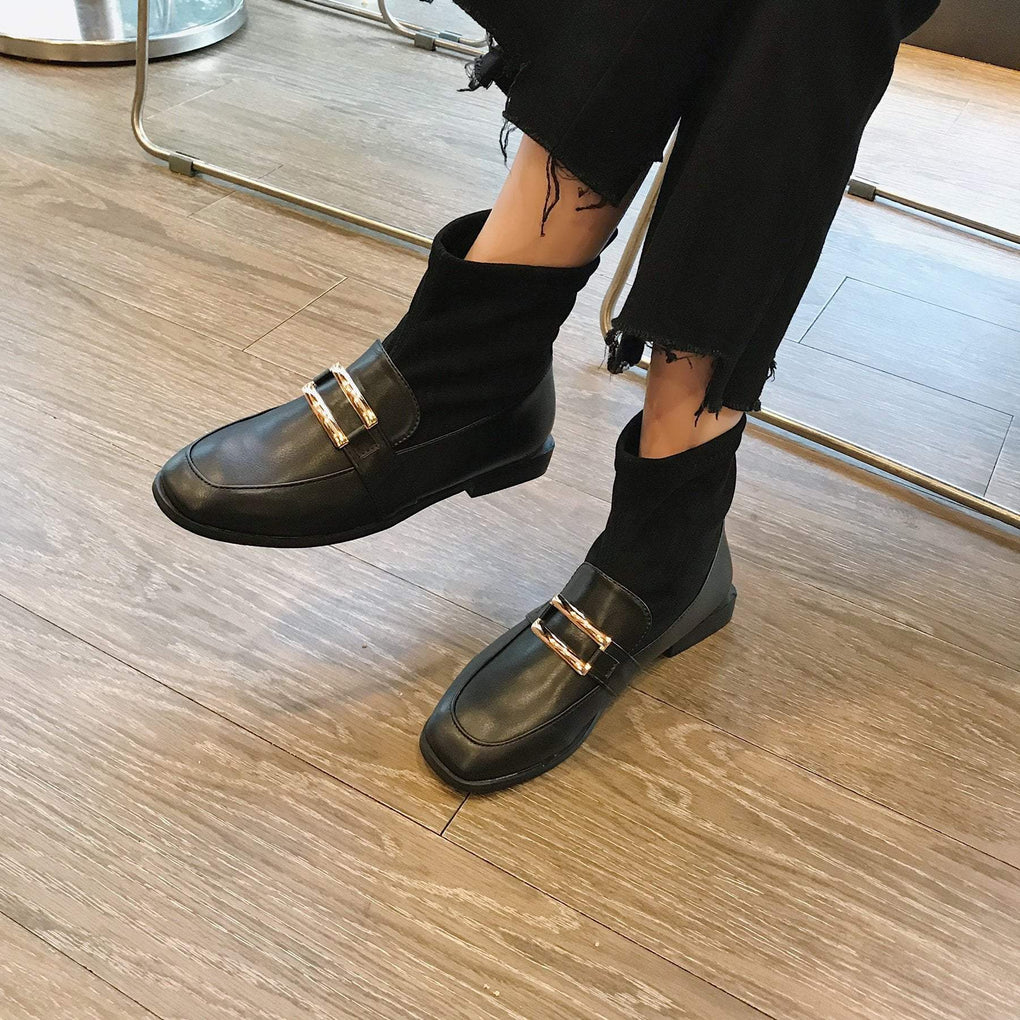 itGirl Shop BLACK SQUARE BUCKLE VELVET WARM BOOTS