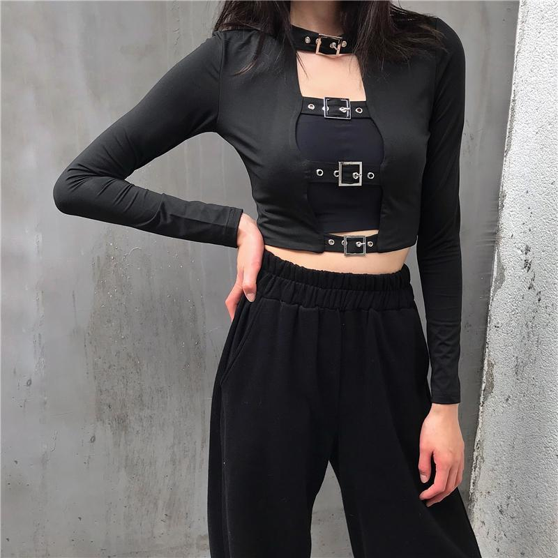 itGirl Shop BLACK STRAPS TOP LONG SLEEVE SHIRT