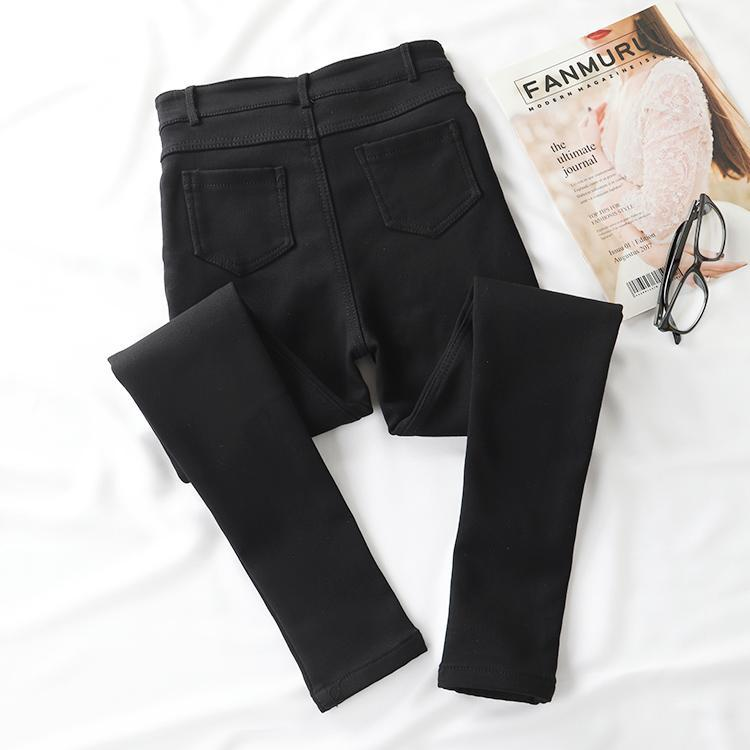 itGirl Shop BLACK STRETCHY WARM VELVET INSIDE JEANS