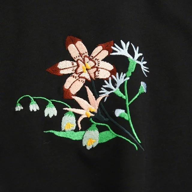 Buy Cheap Aesthetic Clothing BLACK SWEATSHIRT TURTLENECK FLOWER EMBROIDERY Sale 30% OFF itGirl Shop itgirlclothing.com