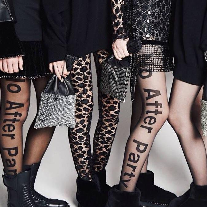 BLACK TRANSPARENT FASHION LETTERS TIGHTS
