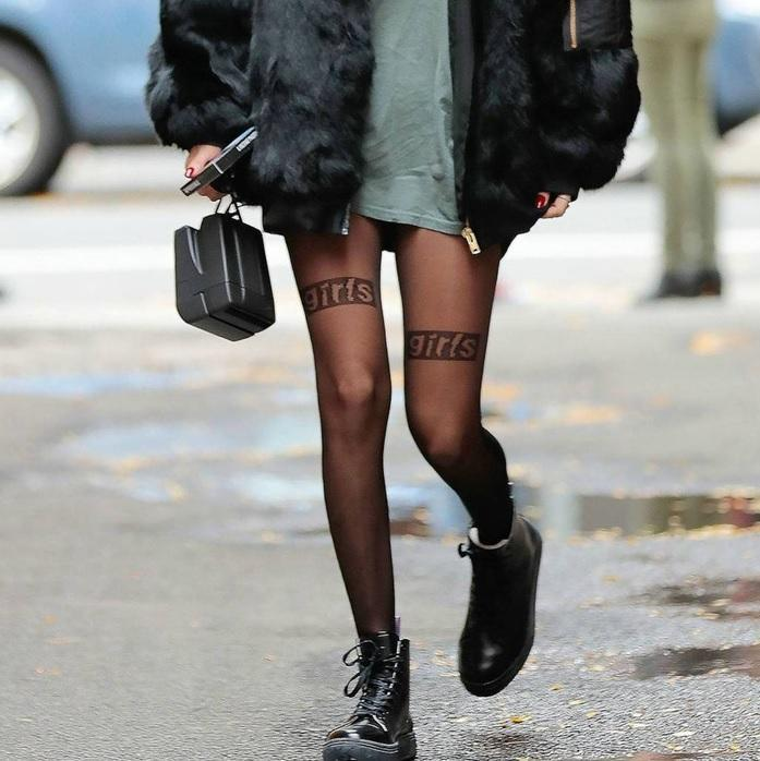 itGirl Shop BLACK TRANSPARENT FASHION LETTERS TIGHTS