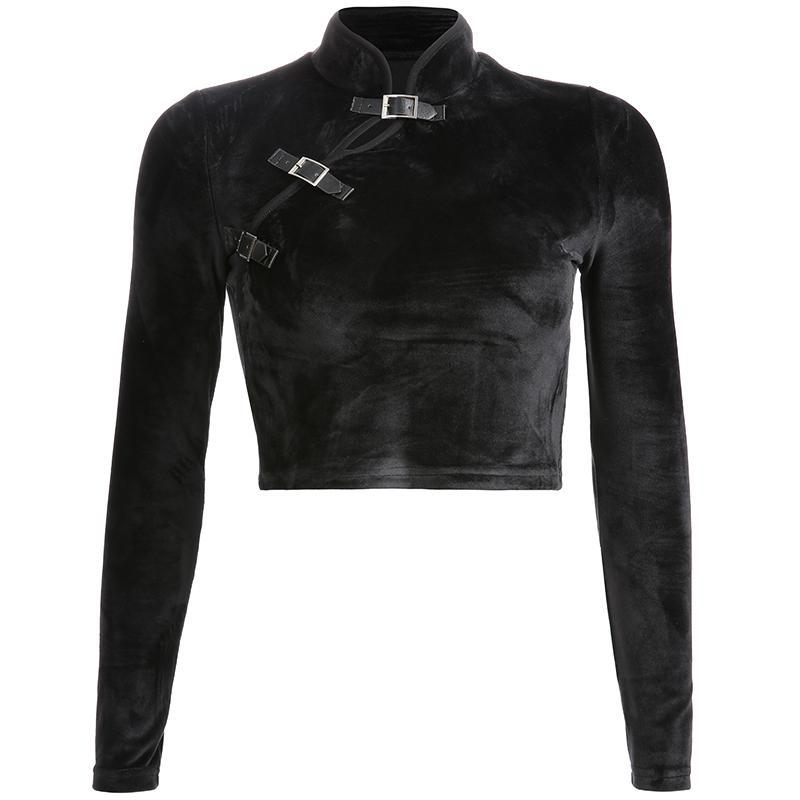 itGirl Shop BLACK VELVET LEATHER BUCKLES SLIM CROPPED SHIRT