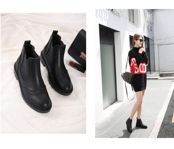itGirl Shop BLACK WESTERN SEWED HOLES CLOSED AUTUMN BOOTS