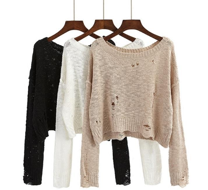 itGirl Shop BLACK WHITE BEIGE KNIT RIPPED HOLES CROP SWEATERS Aesthetic Apparel, Tumblr Clothes, Soft Grunge, Pastel goth, Harajuku fashion. Korean and Japan Style looks