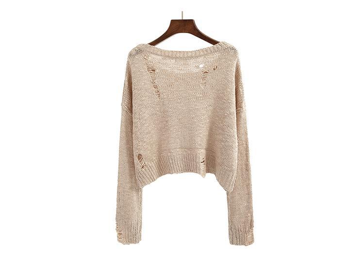 itGirl Shop BLACK WHITE BEIGE KNIT RIPPED HOLES CROP SWEATERS
