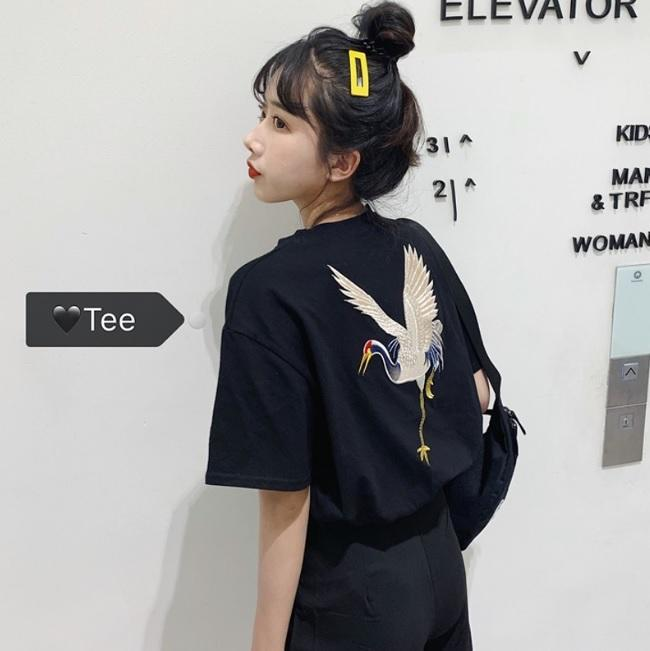 BLACK WHITE CRANE EMBROIDERIES LOOSE T-SHIRT