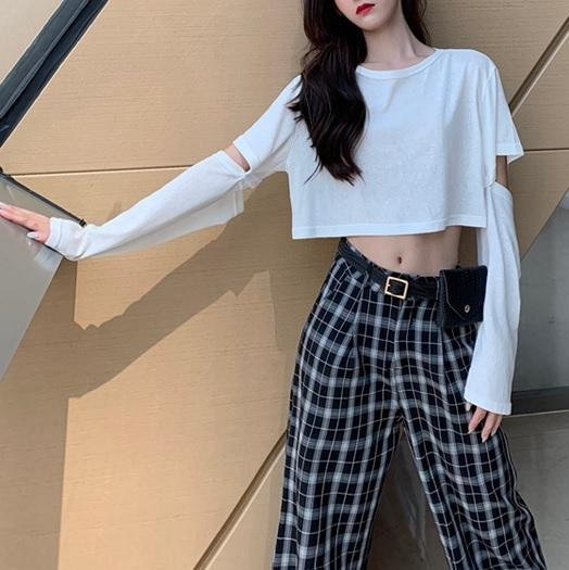 itGirl Shop BLACK WHITE DETACHABLE SLEEVES CROPPED T-SHIRT