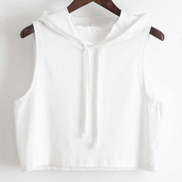 BLACK WHITE HOODED SLEEVELESS CROP TOP